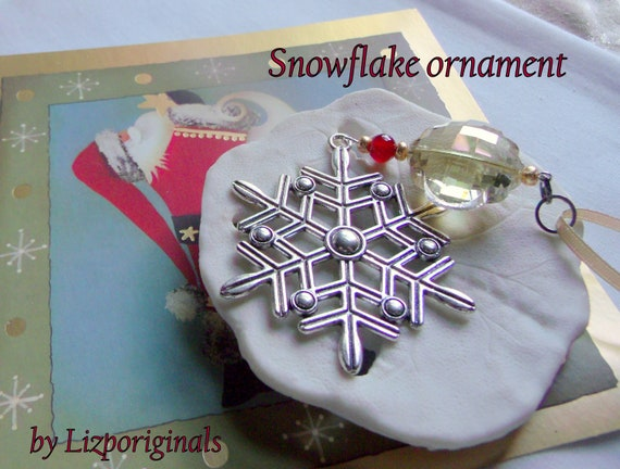 Large snowflake ornament - gold cottage Christmas decor - crystal tree hangers - grab gift - winter hostess gift - red berry - Lizporiginals