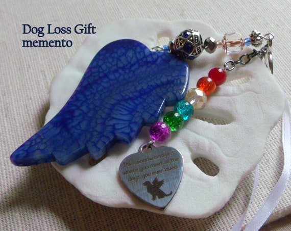 Pet loss gift - blue wing ornament - agate pendant - angel wing - Pet sympathy gift - dog loss - window ornament - fur baby memento