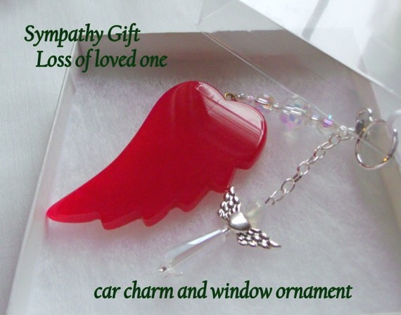 Loss of Wife memento - window ornament - custom car charm - sympathy  angel wing gift -  loss of girlfriend -  agate gemstone - remember me