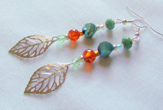 Delicate silver leaf earrings - green beaded leaf earrings - tulip leaf - short leaf earrings - light weight open work leaf - four seasons