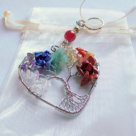 7 Chakra pendant - gem chip tree of Life ornament- window and car charm - Yoga gift - wire wrapped pendant - rainbow heart - natural stone
