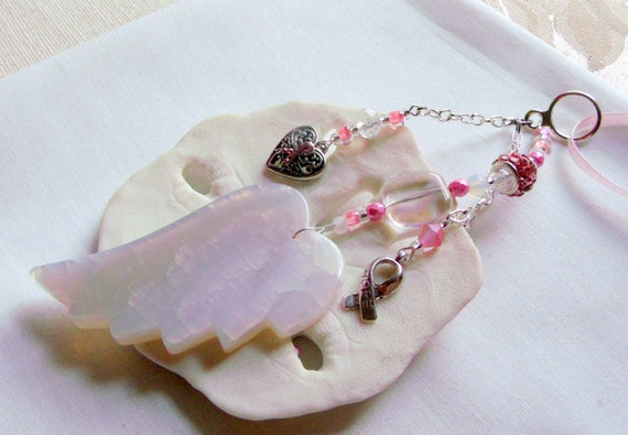 Women cancer gift - Pink cancer ribbon - custom wing for  breast cancer - angel wing - agate car charm - memory gift for friend - survivor