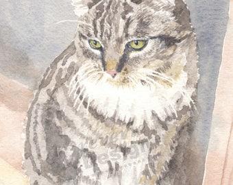 Cat Portrait/Custom Water Color Cat