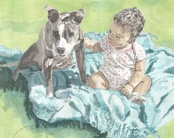 Pet Portraits with Multiple Pets or Human/Custom Water Color