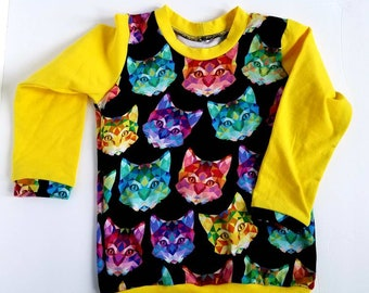 Colorful Cats Top For Boy Size 18-24 Months Ready To Ship Christmas Gift Rainbow Cats Long Sleeve Sweatshirt Cats Birthday Gift