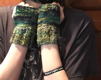 SALE: Greens & Blues Fingerless Gloves