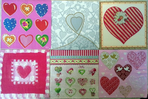 6 Paper Napkins For Decoupage Heart Napkins Gifts For Etsy