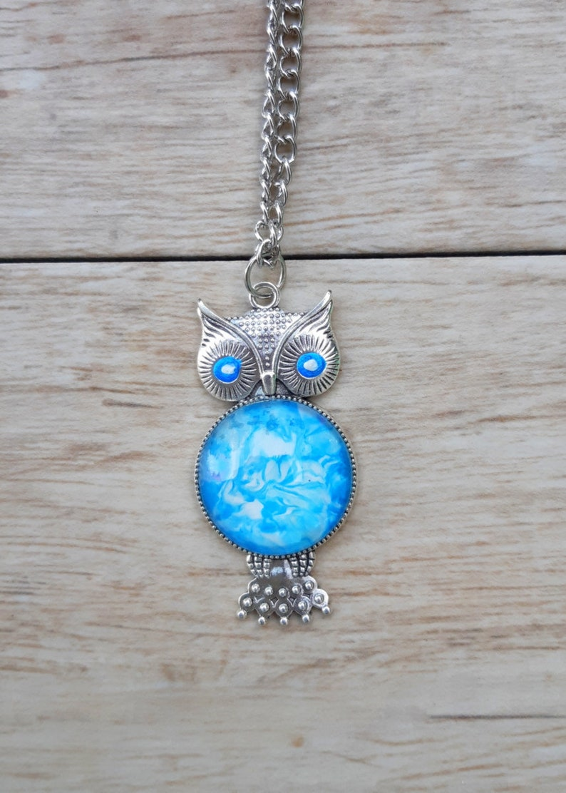 Owl Necklace Unique Gifts For Her Animal Jewelry Acrylic Art Pour Pendant Turquoise Summer Gift Birthday Gift For Sister Animal Lovers Gift