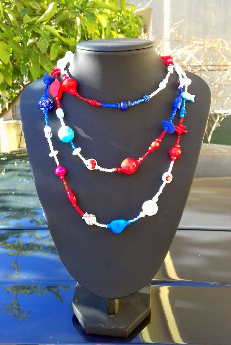 Long Summer Blue Red White Beaded Necklace Unique Gifts For Women Navy Style Sea Beach Jewelry Gifts Elegant Summer Fashion Gift For My Wife