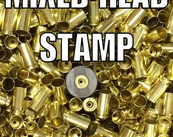 Bulk Processed Once-Fired 9mm Brass All Mixed Head Stamp. Primers have been Removed from these cases. Perfect for Jewelry and Reloading!