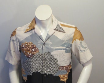 85afefcdf Vintage Hawaiian Aloha Shirt - Abstract Asian Pattern by Malihini - Mens  Medium