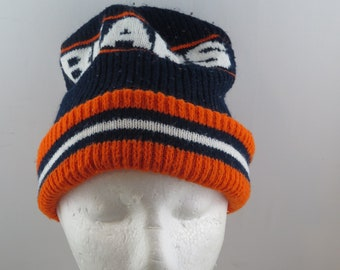 3925aaa29 Vintage Chicago Bears Toque   Beanie - Wrap Script - Adult One Size Fits All