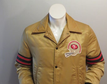 Vintage San Francisco 49ers Satin Jacket by Shain - Gold Colorway - Men s  Small 0ee40d34f