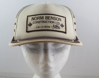 Vintage Patached Trucker Hat - 3 Stripe Norman Benson Construction - Adult  Snapback 62eed856ede8
