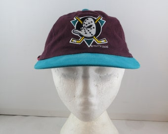 b60eaa2367f Vintage Anaheim Mighty Ducks Hat - Classic Duck Mask Logo - Adult Strapback