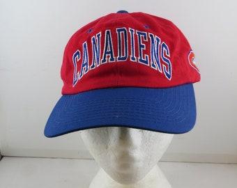 fb2de4bfaf195b Montreal Canadiens Hat (VTG) - Two Tone Arch Script by Starter - Adult  Strapback