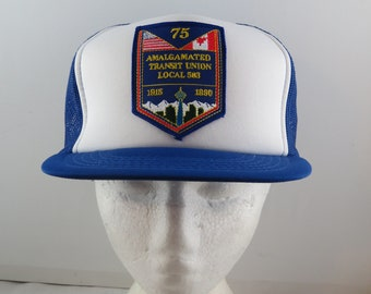 Vitnage Patched Trucker Hat - Amalgamated Tranist Uinon 75th Anniversary -  Adult Snapback fcb32af1f9e6