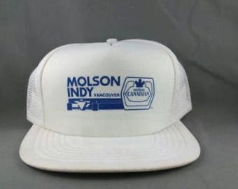 3ac71ce85d9 Vintage Trucker Hat - Molson Indy Vancouver - Molson Canadian Promo - All  White Adult Snapback