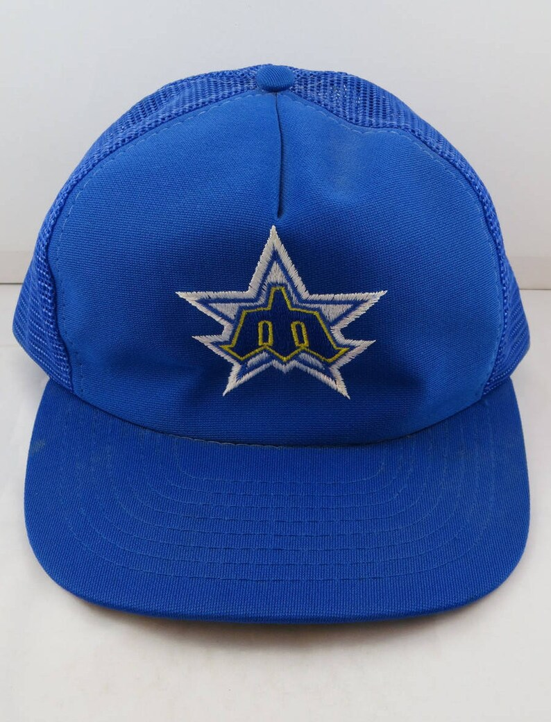 new arrivals ae035 6a49a Seattle Mariners Hat VTG Star Trident Logo Trucker Hat   Etsy