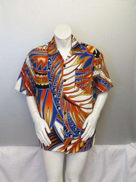 Jahrgang Hawaii-Hemd hausgemachte progressivem Feder-Muster | Etsy