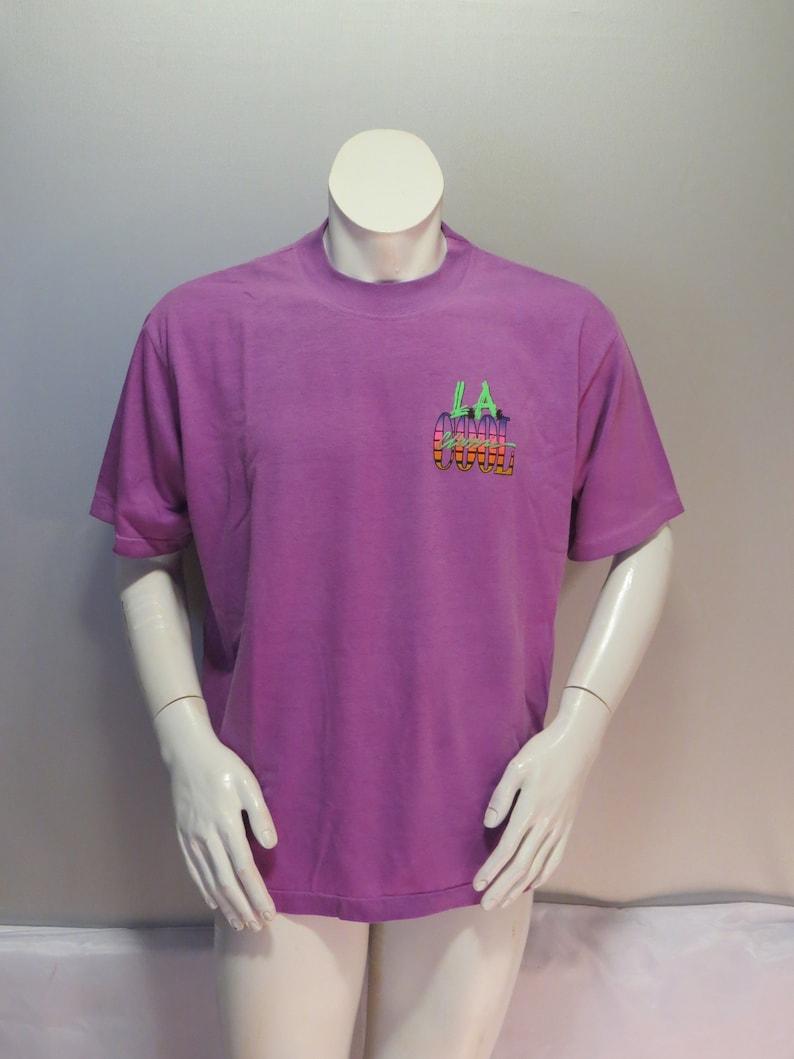 24cc3c819 Vintage Neon Graphic T-shirt LA Cool Palm Tree Graphic | Etsy