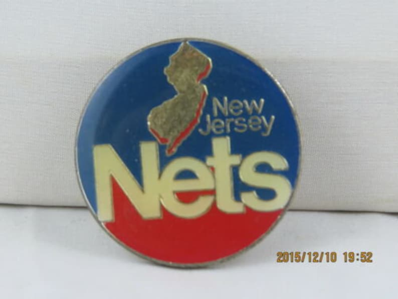 Featuring logo with New Jersey State Celluloid Pin Vintage New Jersey Nets Pin