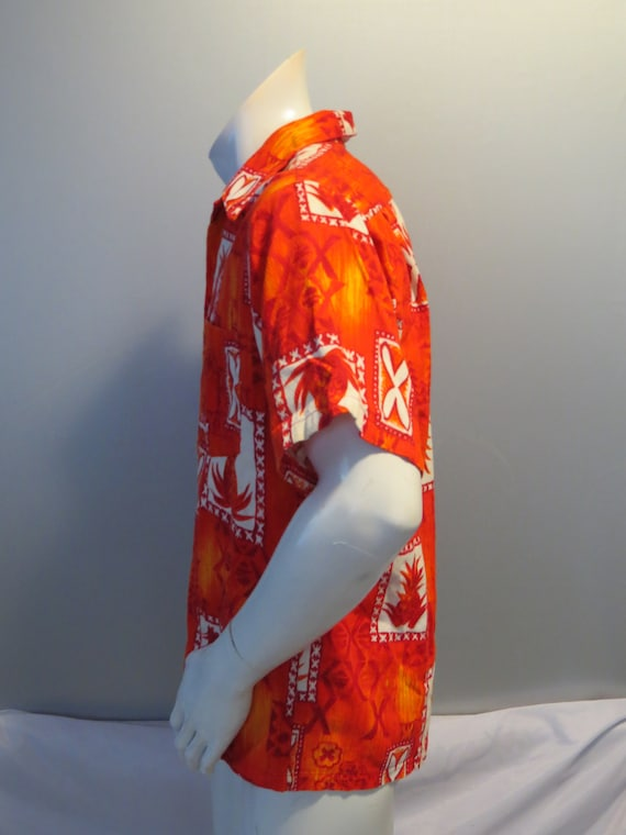 Chemise hawaïenne Vintage - - grand des motif Tribal avec ananas Barkcloth - Vintage hommes b59f35