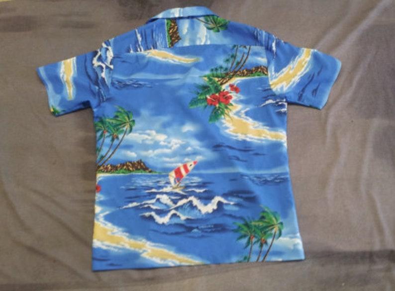 Mens Large Windsurfing Island Theme 1980s Hawaiian Shirt Maker Unknown