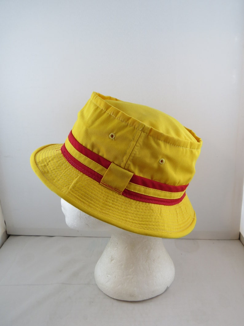 de8172ad Vintage Men's Bucket Hat Yellow and Red Colourway | Etsy