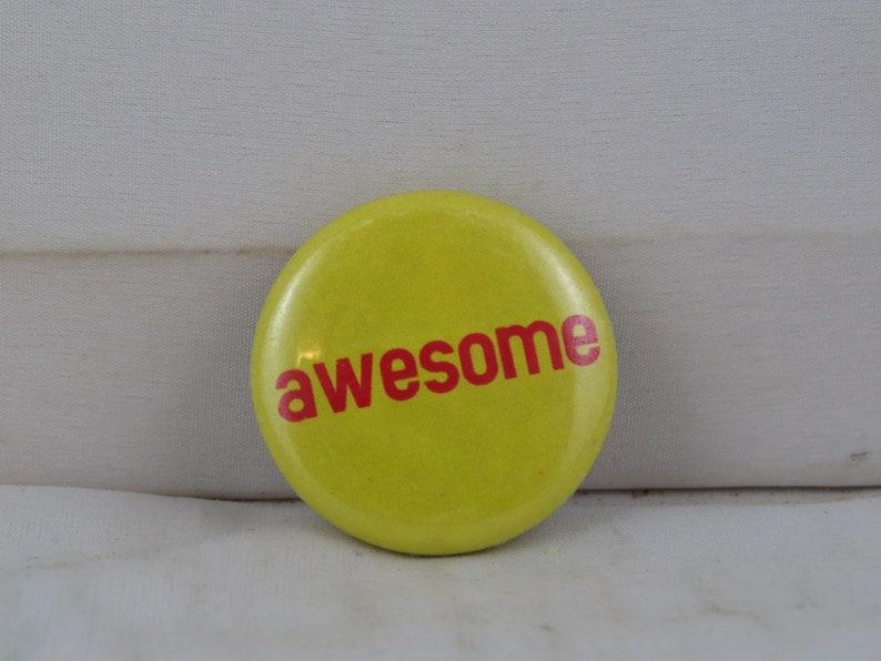 Retro Fashion Pin Celluloid Pin Awesome Type Block Word