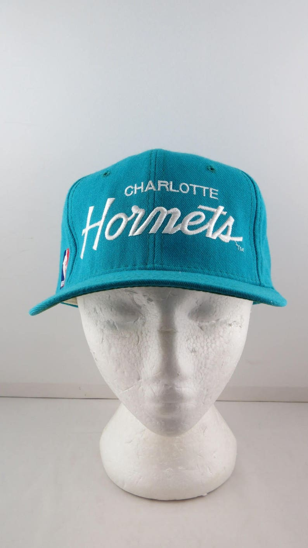 ba1dde63438 Charlotte Hornets Wool Script Hat VTG Teal Sports