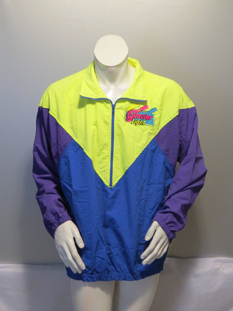 bc08f7f2d80 Vintage Neon Colorblock Pullover Jacket - Kokanee Light Beer - Men s Medium