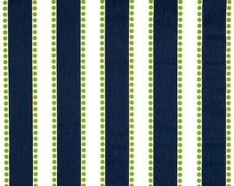 Premier Prints Fabric | Lulu stripe Fabric | Designer Fabric | Upholstery Fabric | Premier stripe navy & green fabric | Fabric by the yard