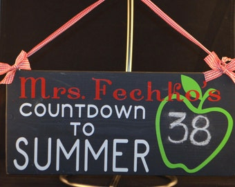 Teacher Countdown to Summer Apple Chalkboard Hanging Sign