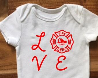 Custom Love Fire Baby Onesie