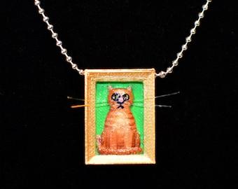 Orange Tiger Cat Necklace, Tiger Cat Necklace, Orange Tiger cat Pendant, Tiger Cat pendant, Cat Necklace, Cat Pendant