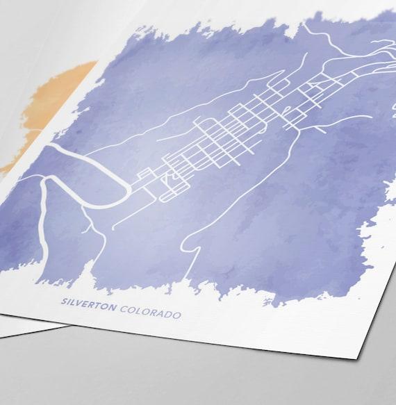 Silverton Colorado Map Custom Print Etsy
