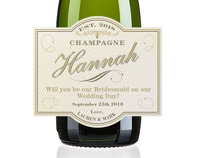 Will you be my Bridesmaid Mini Champagne Labels