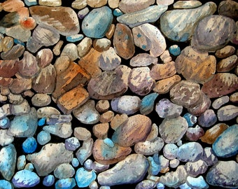 Watercolor Painting - Original  - Pebbles on the Beach - Unframed