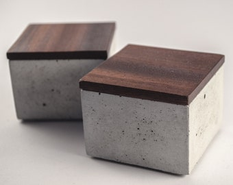 Small box made of concrete with wooden lid. Oak, meranti, sapele. FREE shipping.
