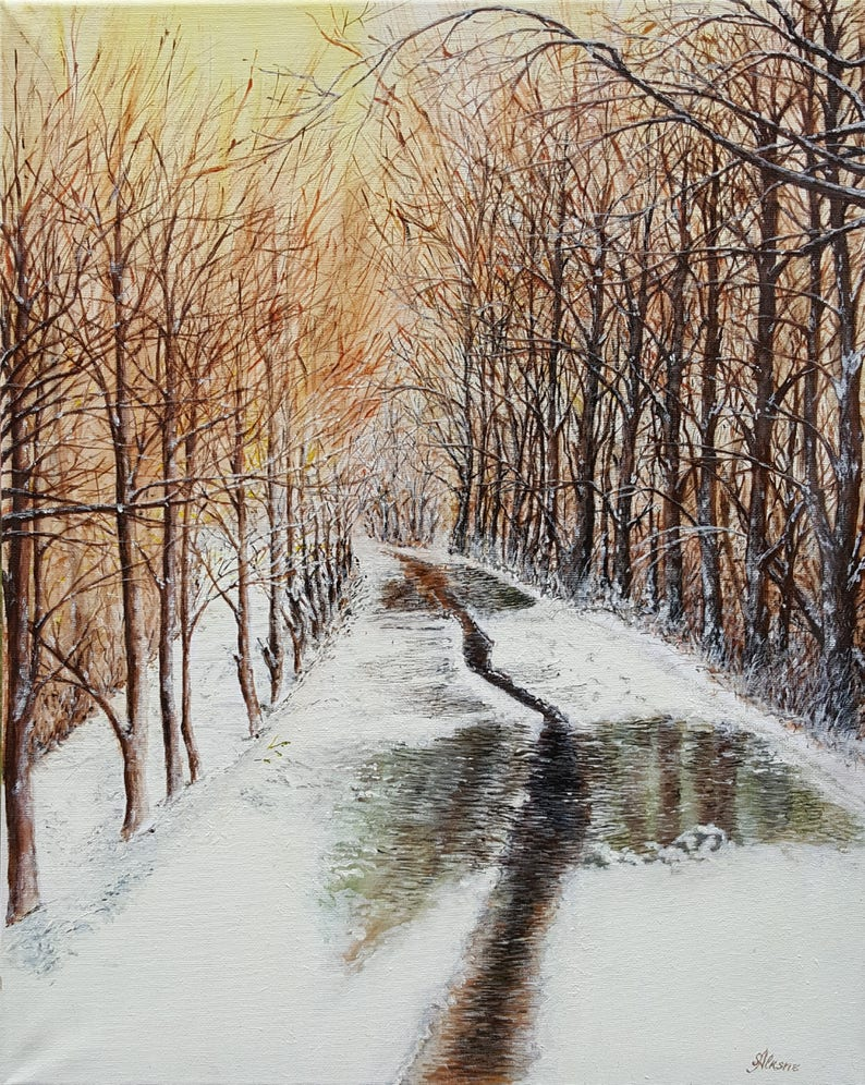 Original hand painted acrylic painting  Winter Sun  made by image 0