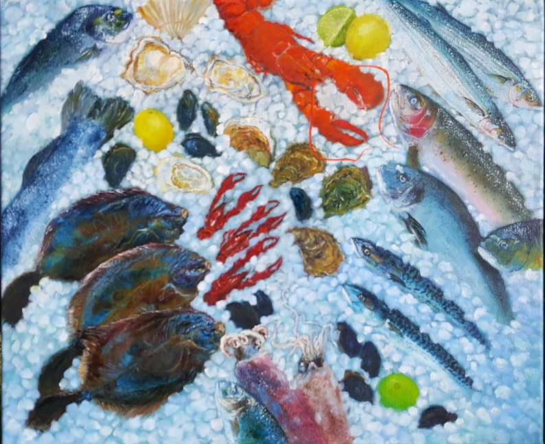 Original hand painted oil painting  Seafood Bliss made by image 0