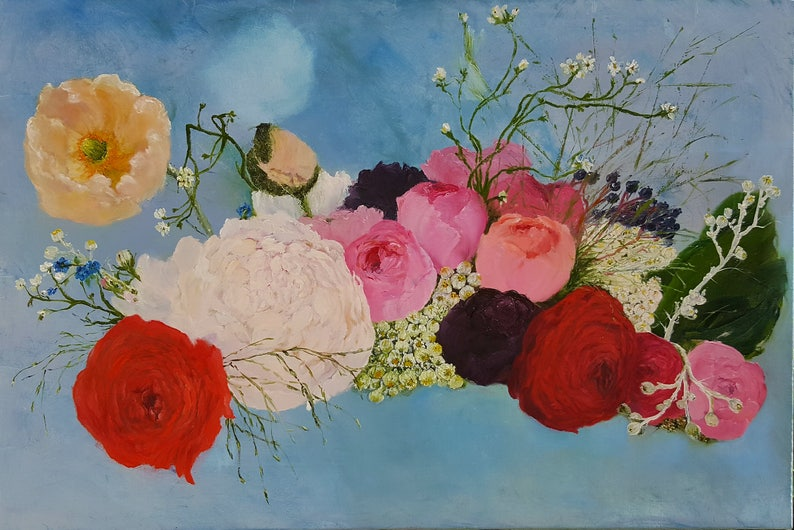 Original hand painted oil painting  All kind of flowers made image 0