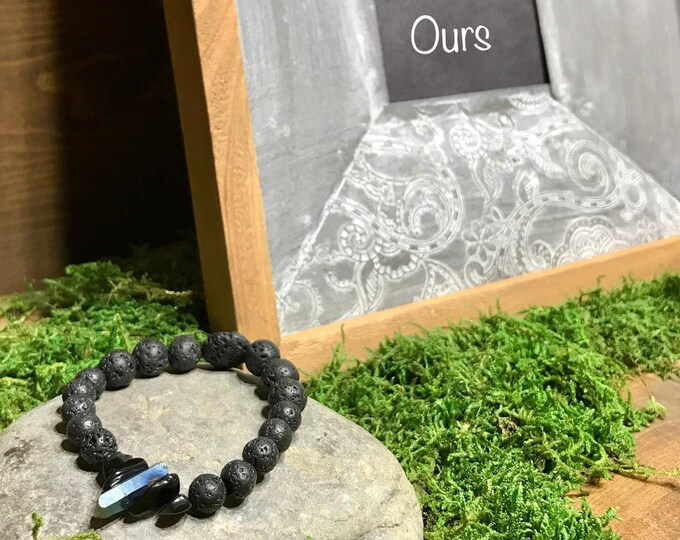 Quartz Black Obsidian lava rock aromatherapy essential oil diffuser stretch bracelet, essential oil stretch bracelet, essential oil bracelet