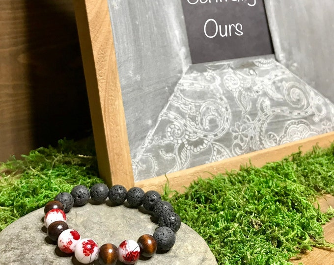 Cherry blossom glass beads dark wood beads with lava rock aromatherapy essential oil diffuser stretch bracelet, esssential oil bracelet,