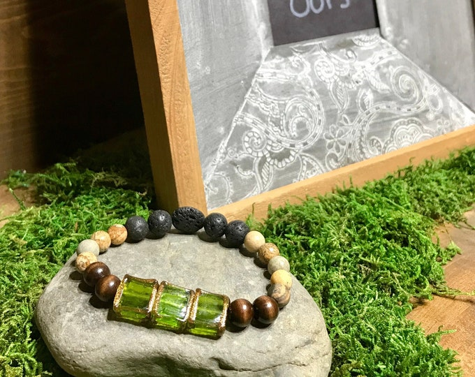 Emerald glass beads dark wood with Jasper and lava rock aromatherapy essential oil diffuser stretch bracelet, essential oil diffuser