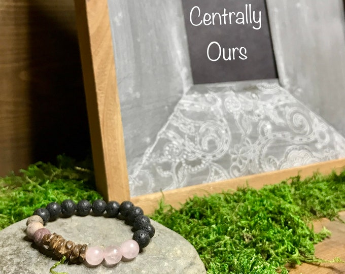 Rose Quartz Coconut shell Purple Jasper lava rock aromatherapy essential oil diffuser bracelet, rose quartz essential oil bracelet.