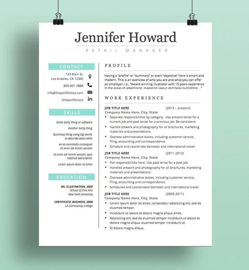 Resume Template CV Cover Letter Modern