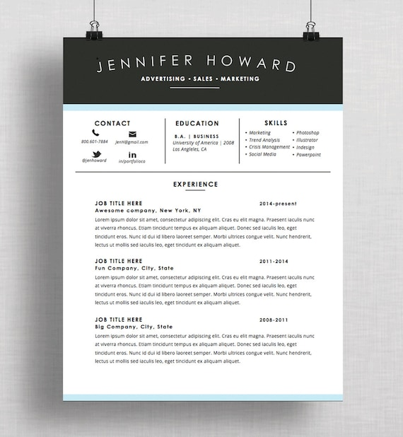 Creative resume template cv cover letter mac or pc etsy image 0 spiritdancerdesigns Images