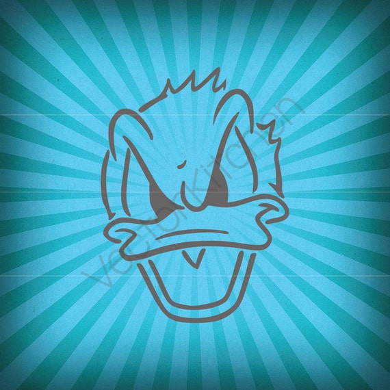 Donald Duck Inspired Face Cutting Template Svg Eps Silhouette Etsy